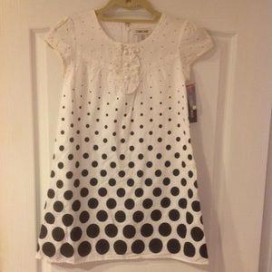 NWT white cotton ruffle dress w/black dots